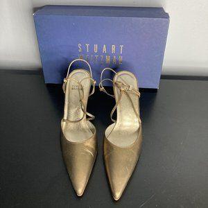 Gold Strappy Sandals Stuart Weitzman Size 6.5/7